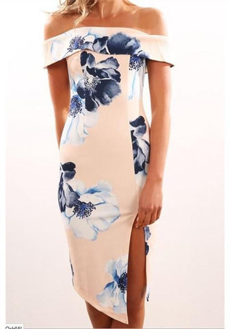 Pink Floral Cut Out Boat Neck Short Sleeve Midi Dress