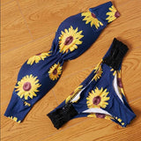 ByChicStyle Navy Blue Flowers Bandeau 2-in-1 V-neck Fashion Swimwear