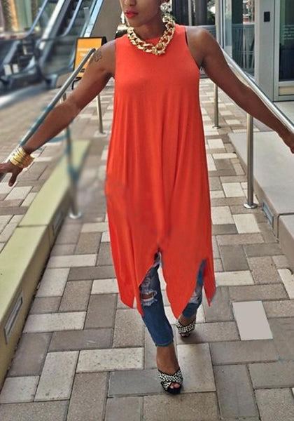 Orange Irregular Draped Flowy Round Neck Casual Midi Dress