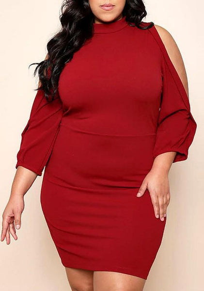 Burgundy Cut Out Zipper Plus Size Bodycon 3/4 Sleeve Off Shoulder Midi Dress