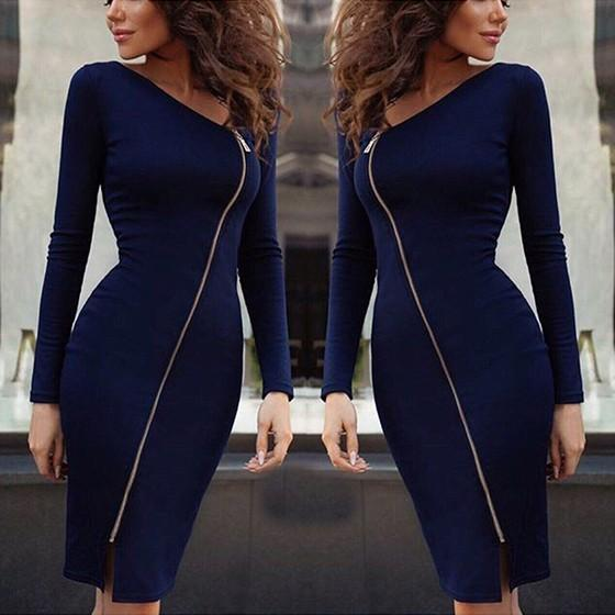 Dark Blue Zipper Cut Out Long Sleeve Fashion Midi Dress