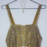 ByChicStyle Golden Patchwork Chain Rhinestone Slit Square Neck Fashion Vest