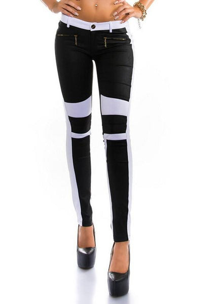 Black Patchwork Print Zipper Button Fly Fashion Long Pants