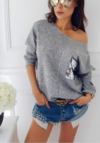 Grey Plain Pocket Sequin Round Neck Casual Pullover Sweater