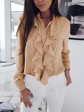 Apricot Ruffle Long Sleeve Casual Sweet Going out Blouse