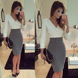 ByChicStyle White-Black Mosaic Print V-neck Bodycon Fashion Las Vegas Club Party Midi Dress