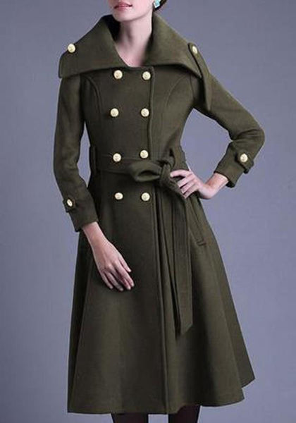 Army Green Patchwork Sashes Double Breasted Turndown Collar Long Sleeve Fashion Coat