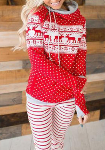 Red Elk Snoeflake Print Drawstring Zipper Cowl Neck Hooded Christmas Casual Pullover Sweatshirt