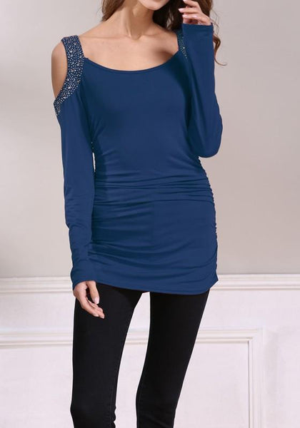 Blue Patchwork Rhinestone Cut Out Round Neck Casual T-Shirt