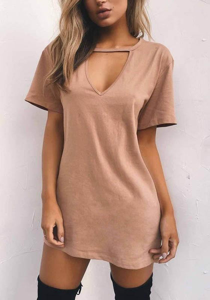 Khaki Cut Out Plunging Neckline Short Sleeve Sweet T-Shirt