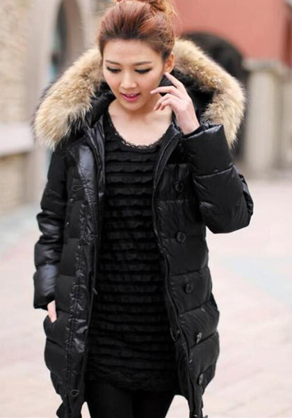 Black Patchwork Fur Collar Zipper Pockets Belt Long Sleeve Down Coat