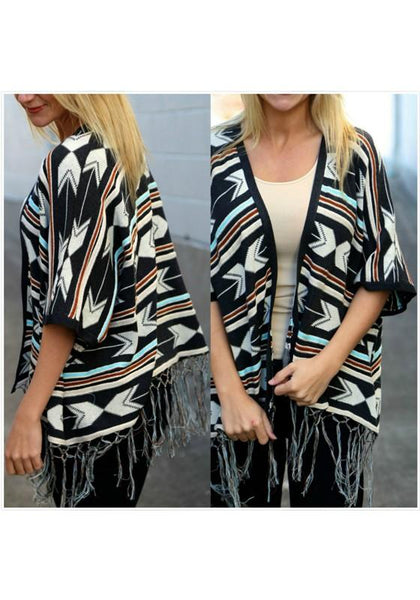 Black Geometric Print Tassel Fashion Cardigan Coat