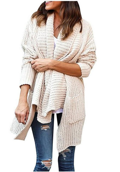Apricot Pockets Irregular Turndown Collar Long Sleeve Casual Cardigan Sweater