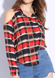 ByChicStyle Blue Plaid Buttons Pockets Cut Out Long Sleeve Fashion Blouse
