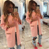 ByChicStyle Pink Plain Pockets Long Sleeve Casual Coat