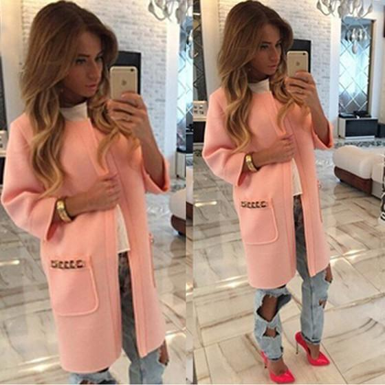 Pink Plain Pockets Long Sleeve Casual Coat