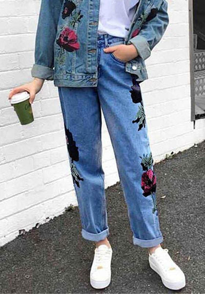 Blue Patchwork Embroidery Pockets Buttons High Waisted Long Jeans
