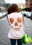 ByChicStyle White Skull Cut Out Round Neck Short Sleeve T-Shirt