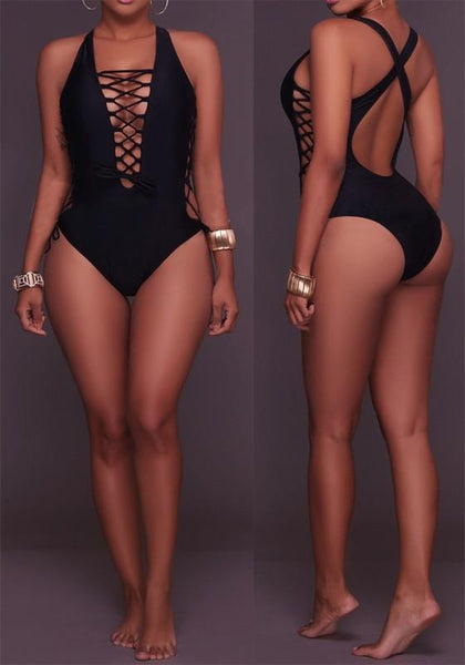 Black Cut Out Cross Back Backless One Piece Multi Way Swimwear