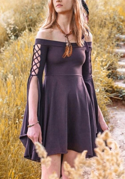 Black Pleated Swallowtail Off Shoulder Lace-up High Waisted Retro Cute Country Midi Dress