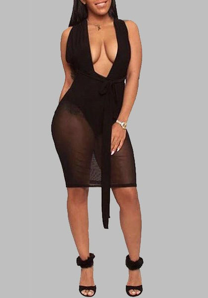 Black Grenadine Sashes Cross Back Sheer Halter Neck Clubwear Party Midi Dress