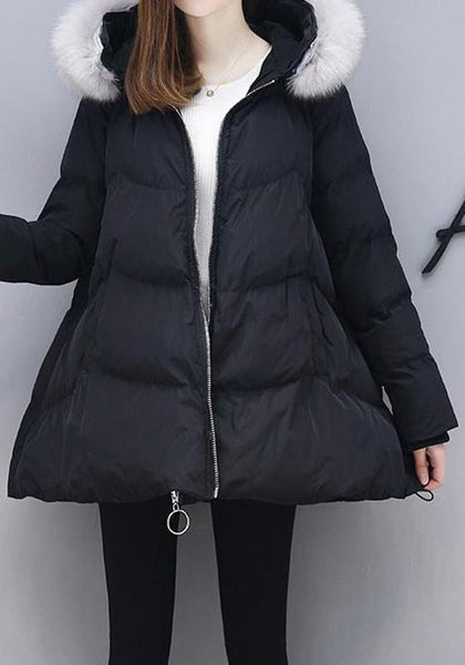Black Pockets Fur Zipper Long Sleeve Hooded Fashion Coat