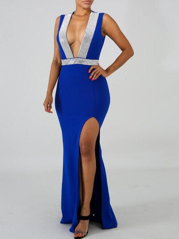 Royal Blue Patchwork Rhinestone Glitter Irregular Slit Deep V-neck Mermaid Elegant Party Maxi Dress
