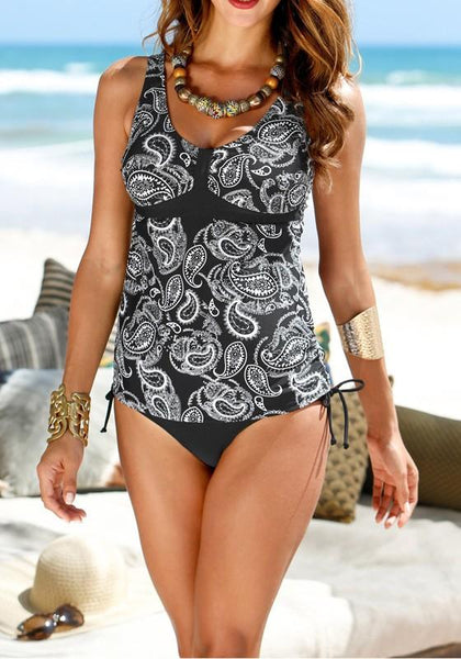Black Floral Condole Belt Cut Out One Piece Scoop Neck Sleeveless Swimwear