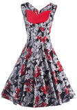 ByChicStyle Red Floral Print V-neck Sleeveless Knee Length Vintage Midi Dress