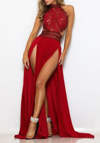 Red Lace Cut Out Draped Side Slit High Waisted Elegant Party Maxi Dress