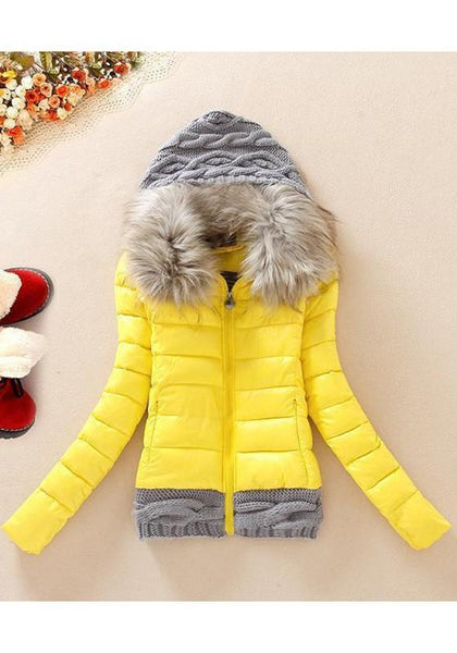 Yellow Patchwork Zipper Pockets Long Sleeve Padded Coat
