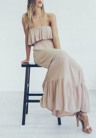 Apricot Plain Ruffle Bandeau Sleeveless Elegant Maxi Dress
