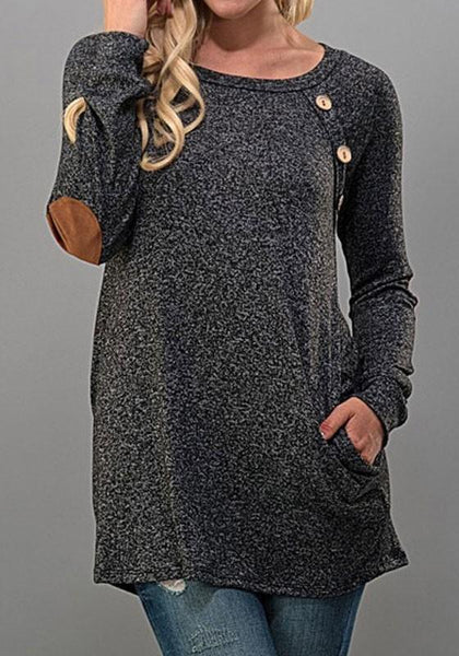 Grey Patchwork Studded Pockets Long Sleeve Fashion T-Shirt