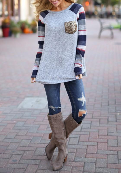 Navy Blue Striped Patchwork Sequin Pockets Round Neck Long Sleeve Casual T-Shirt