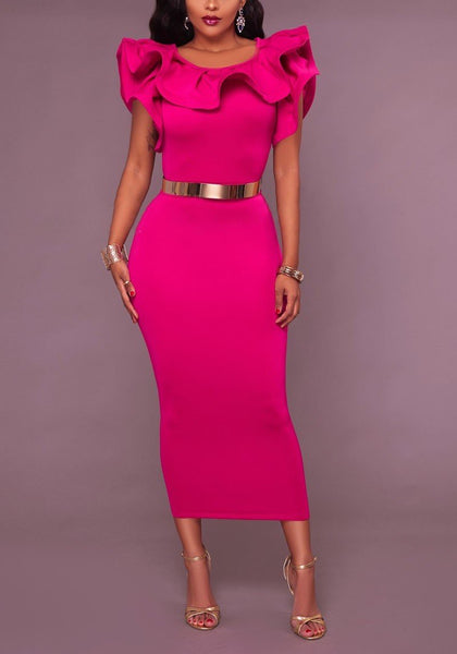 Rose Carmine Ruffle Belt Chain Slit Bodycon Banquet Elegant Party Midi Dress