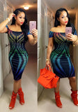 ByChicStyle Multicolor Geometric Print Gradient Color Boat Neck Off-shoulder Club Midi Dress