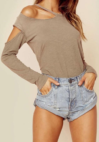 Apricot Asymmetric Shoulder Cut Out Sleeve Going out Casual T-Shirt