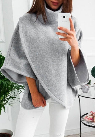 Grey Irregular High Neck Long Sleeve Casual Pullover Sweatshirt