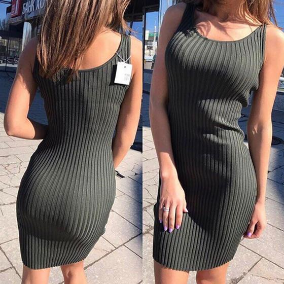 Army Green Round Neck Sleeveless Casual Slim Midi Dress
