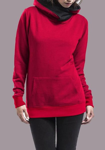 Red Pockets Cowl Neck Long Sleeve Fashion Pullover Sweatshirt