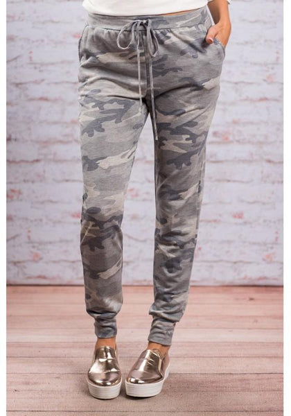 Grey Camouflage Drawstring Elastic Waist Casual Long Pants