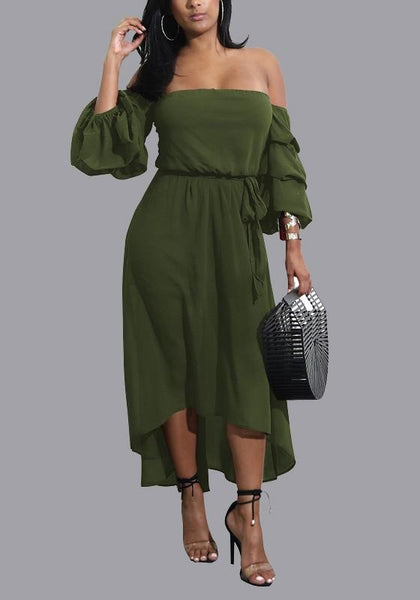 Army Green Sashes High-low Off Shoulder Backless 3/4 Sleeve Homecoming Party Midi Dress
