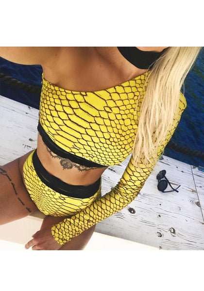 Yellow Floral Midriff Asymmetric Shoulder 2-in-1 Fashion Swimwear