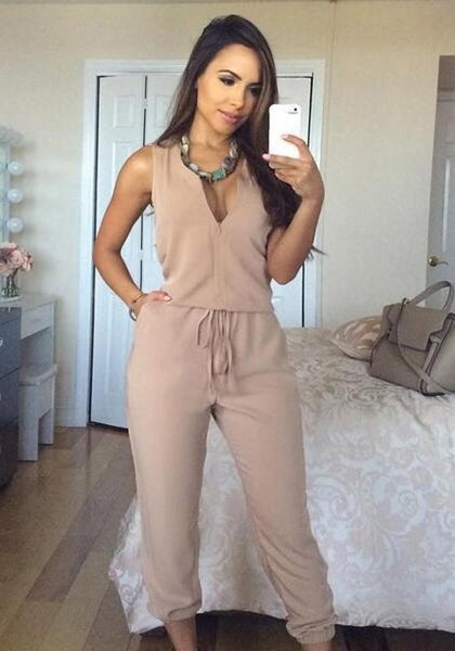 Khaki Zipper Round Neck Drawstring Waist Long Jumpsuit
