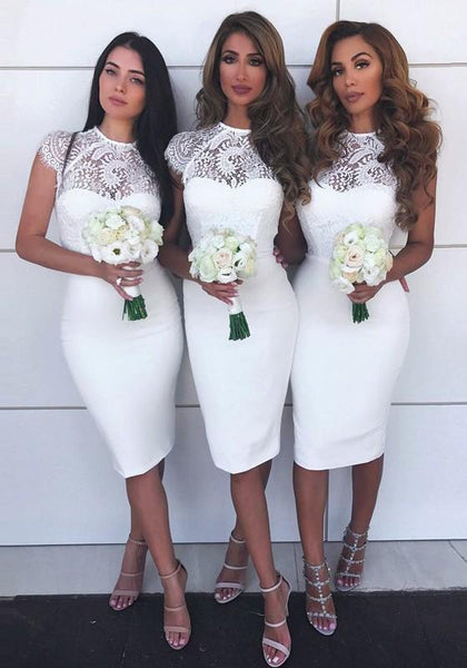 White Floral Lace Cap Sleeve Bodycon Bridesmaid Homecoming Party Mini Dress