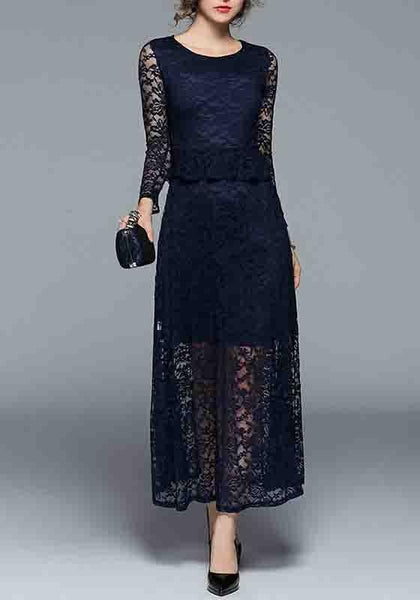 Dark Blue Patchwork Lace False 2-in-1 Round Neck Midi Dress