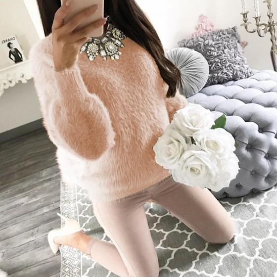 Apricot Round Neck Long Sleeve Casual Pullover Sweater