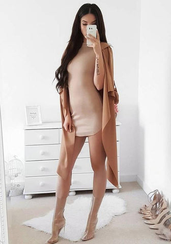 Apricot Irregular Zipper Band Collar Short Sleeve Mini Dress
