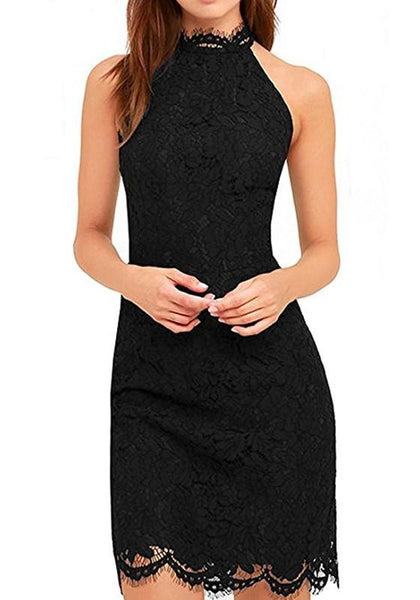 Black Plain Lace Sleeveless Fashion Slim Midi Dress