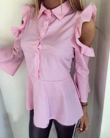 Pink Striped Single Breasted Turndown Collar Fashion Blouse